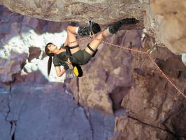 Lara on the rock wall 2 by DoppieCroft