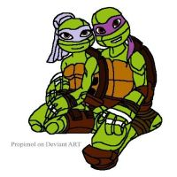 TMNT Donatello and Talena by joellejey