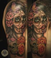 Santa muerte sugar skull 2 by 2Face-Tattoo
