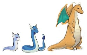 Sketch dratini evolution by NenufarAzul