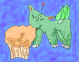 Bulbasaur and the muffin by Sakurarules