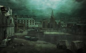 Innsmouth Waterfront - HP Lovecraft - Concept Art by mcrassusart
