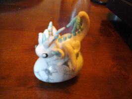 Fimo Dragon White Blizzard with Howlite Egg by kshepherd5