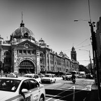 Flinders Street Station in black and white by babylon6
