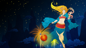 Janna - Lunar Revelry :Blue Wallpaper: by Mignion