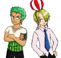 Zoro and the ballman :P by Popcorni
