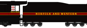 Norkfolk and Western 611 with Auxiliary Tender by RailToonBronyfan3751
