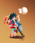 Thank You! (chibi Law and Luffy from One Piece) by MajorasMasks