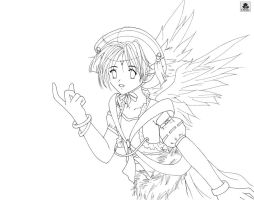 Angel Lineart by Cannira