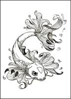 Commission - Koi tattoo design by Yuki-Myst