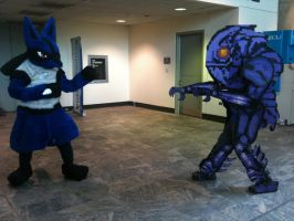 Lucario vs. Chozo cosplay by ChozoBoy