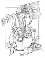 Commish Sketch 51 Harley Q by RobDuenas