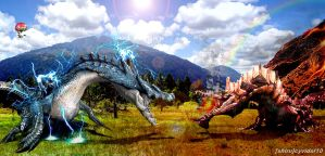 Monster Hunter - Lagiacrus vs Agnaktor by cyevidal10