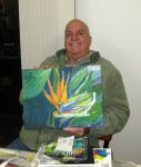 Robert and his first acrylic painting by karincharlotte