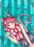 ACEO 07 - Pink Kitty by WeeverWolf