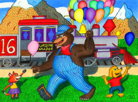 The Friendly Bear Train Engineer by WalterRingtail
