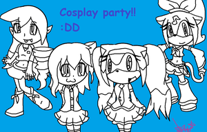 Cosplay party(lineart) by Nite3007