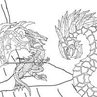 Malassa and the Abyssal Worm - Uncolored WIP by AlgorythmicRythm