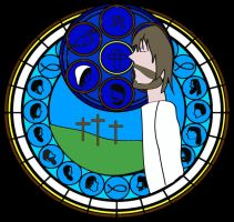 Stained glass Jesus by Saraphimwolf