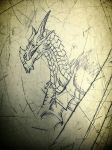 Alduin on a school table... by dragonhunter2323