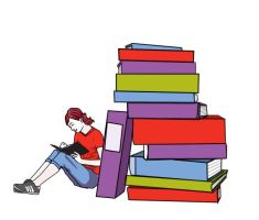 Girl with books by prudentia