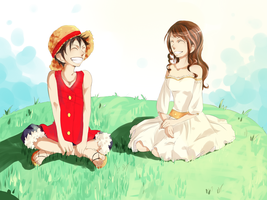 Luffy and Fuu by Aquaelle