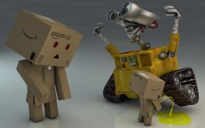 Danbo and Wall-E by Dracu-Teufel666