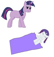 Twilight and filly Rarity by Akamaru01