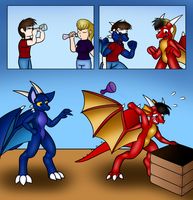Commission - More Label Mishaps (Dragon Body Swap) by Ryusuta
