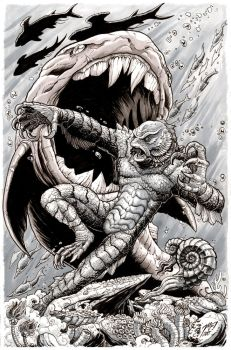 Creature From the Black Lagoon Monsterama print by KaijuSamurai