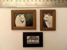 Miniature Orig. Wolf Paintings and sketch by MyMiniatureWorld