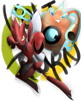 Volt- Turn: ScizorXRotom-W Combo by k-the-dragonknight