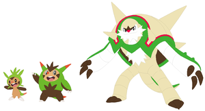 Chespin, Quilladin and Chesnaught Base by SelenaEde