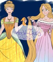 Cinderella and Rapunzel by Andi-Tiucs