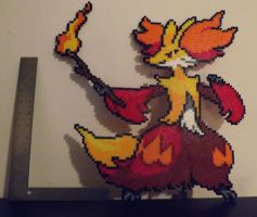Delphox Perler Art Finished by kamikazekeeg