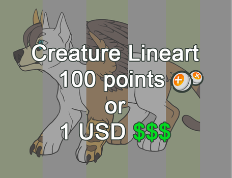 Creature Lineart Sai and PSD P2U Points and Paypal by Ziboe