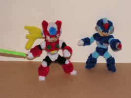 Megaman X and Zero by fuzzyfigureguy