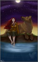 Girl and her Wolf by JayneStrange