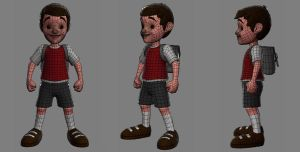 Kid Hero low poly wireframe by Akiratang