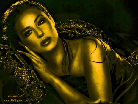 monica bellucci  in gold by Creativemohamedadel