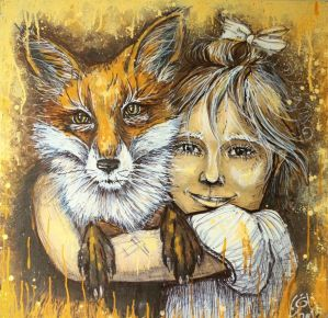 A girl and a fox by Manit0