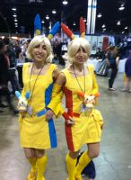 Anime Central 2014 - Plusle and Minun Gijinkas by GoodDokCosplay
