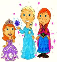 Sofia Meets Princess Anna and Queen Elsa by BestBarneyFan