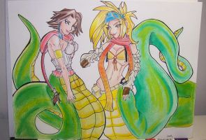 Nagafied Yuna and Rikku by Wikitt