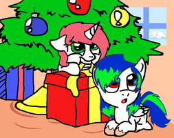 Collab- Filly And Colt On Christmas by Fun-dragoness