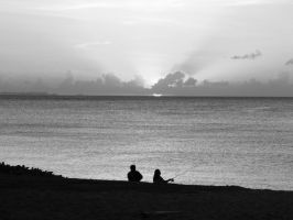 Fishing at Sunset in B+W by Sweetlittlejenny