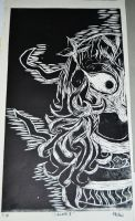 printmaking project - ethnic indonesian lady by art-rinay