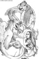 Gryphon and Mockturtle Sketch by kyoht