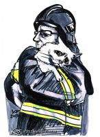 Fireman and white cat 2013 by Keymagination