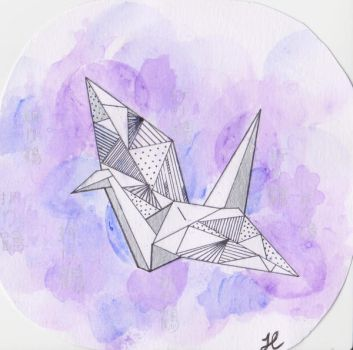 Origami Crane Painting- Pink + Purple Watercolour2 by CuriousBunnyClothing
